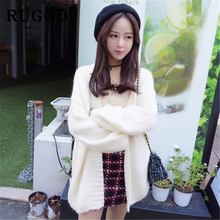 RUGOD Elegant solid knitted Cardigan women 2019 korean white lantern sleeve Auturm winter clothes Fashion ladies mid-length coat