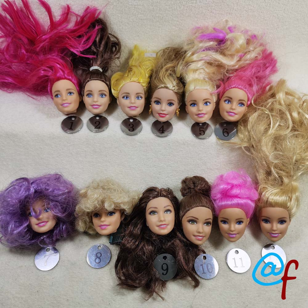 B20-27 Original Foreign Trade European Beauty1/6 OOAK NUDE Doll Head Mussed Hair For DIY Soft PVC Head  90%NEW