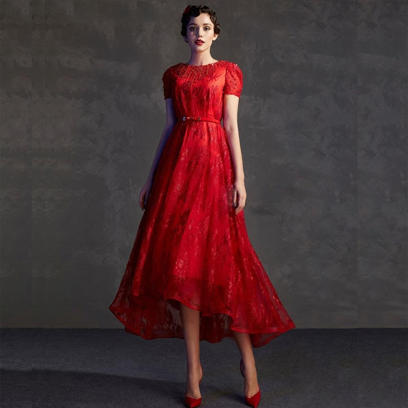 Red Lace Short Evening Prom Gown Couture Unique Design Robe De Soiree Formal 2018 Sexy Backless Mother Of The Bride Dresses