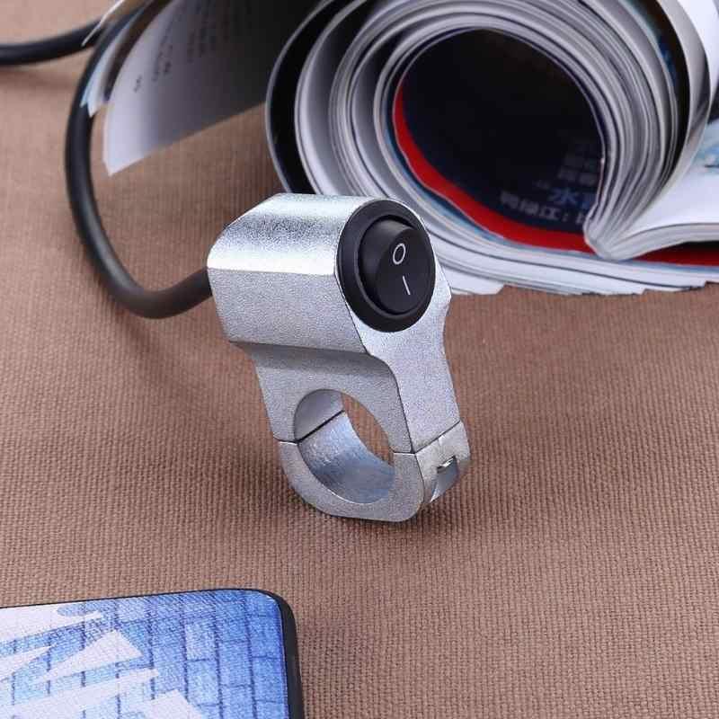 Paduan Aluminium 2-Wire 7/8in Stang Sepeda Motor Lampu On/OFF Switch dengan Lampu LED Tahan Air Motor aksesori Baru
