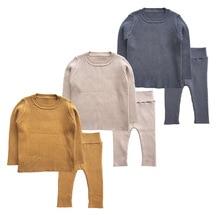 2020 אביב חדש 6M 4T חורף תינוקת בגדי סט סרוג בני סט סוודרים + מכנסיים 2pcs ילדים בגדי בנות כותנה סרוג חליפות