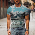 Men's Crew Neck T-Shirts Multiple Colour 3D landscape Graphics Print Tops&Tee Men Women Personalized Fashion Streetwear