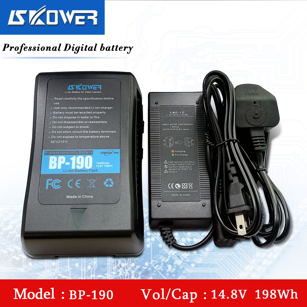SKOWER 14.8V 198Wh (13400 mAh) BP-190 v-mount v-lock v-shape V Mount batterie Li-ion Rechargeable avec Port USB + chargeur d-tap