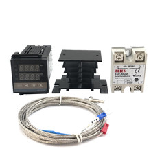 REX-C100 Digital PID Suhu Controller Thermostat SSR Output + Max.40A SSR Relay + K Termokopel Probe Kualitas Tinggi RKC(China)