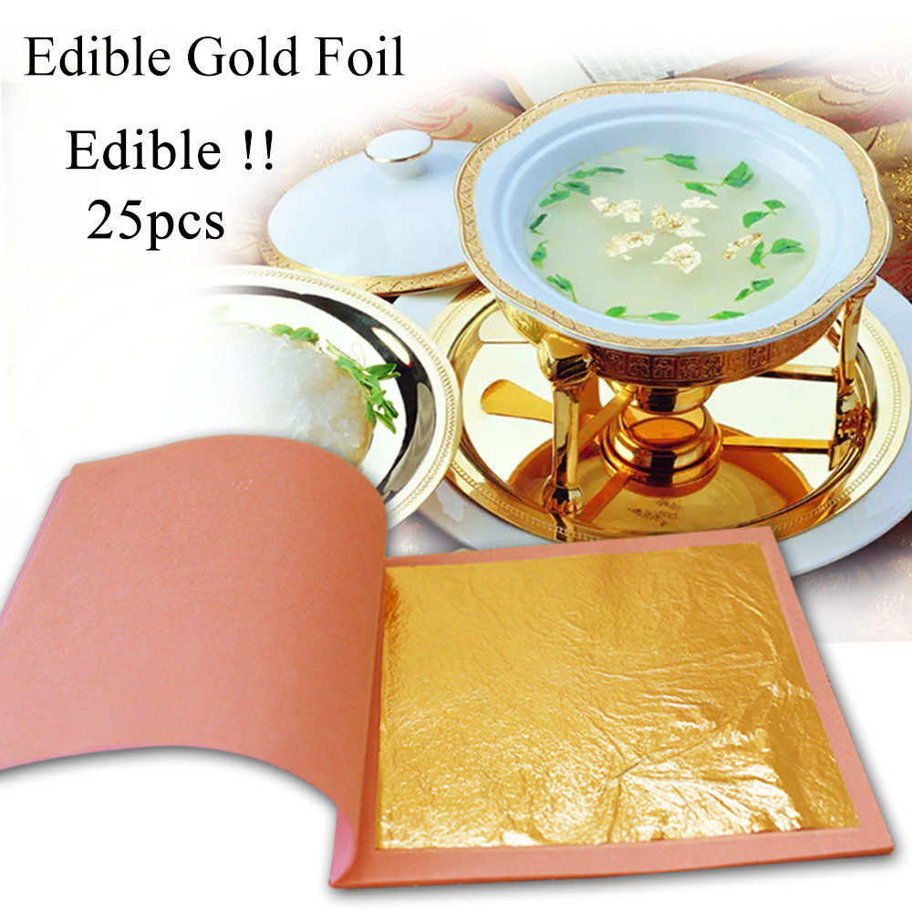 24K Gold Leaf Pure Genuine Foil Sheet 1 Booklet 25 PCS 8x8cm Edible Gold Flake Sheets Decoration Cake Leaves Arts Craft Home