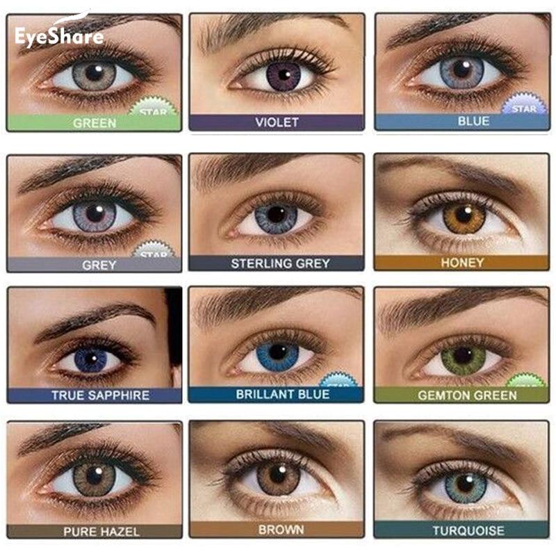 Lentes de contato coloridas da série da cor brilhante do tom de eyeshare-2 pces 3 para contatos coloridos da cor das lentes dos olhos