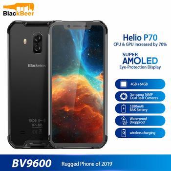 Перейти на Алиэкспресс и купить Водонепроницаемый мобильный телефон Blackview BV9600, Helio P70, Android 9,0, 4 Гб + 64 ГБ, сотовый телефон 6,21 дюйма, 19:9 AMOLED, 5580 мАч, прочный смартфон