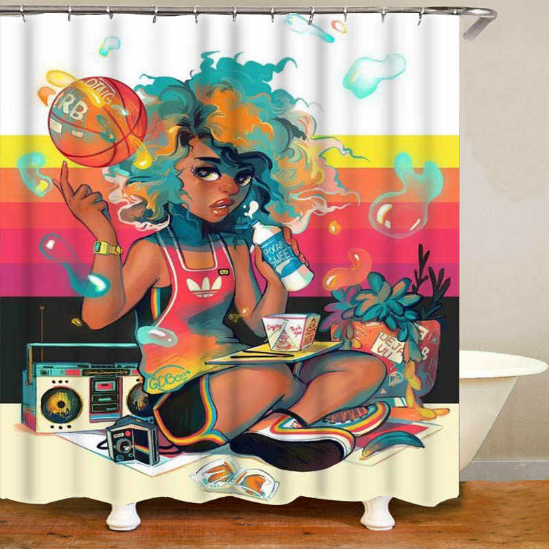 Music Shower Curtain African American Woman Print for Bathroom