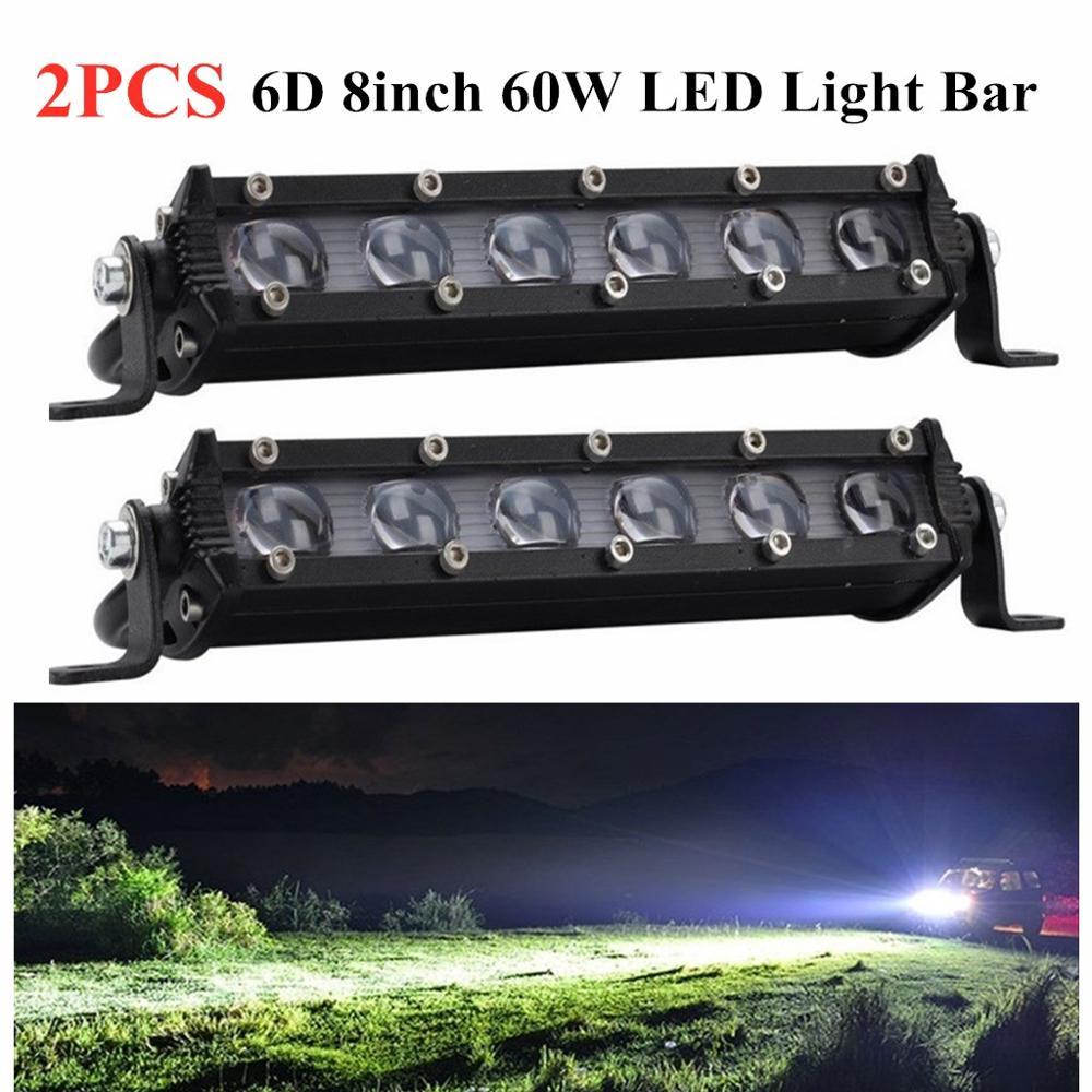 2 pçs 6d 8 polegada 60w conduziu a barra de luz do trabalho conduziu a lente do farol 4x4 fora da estrada 4wd caminhão suv atv condução luz nevoeiro luz trabalho carro
