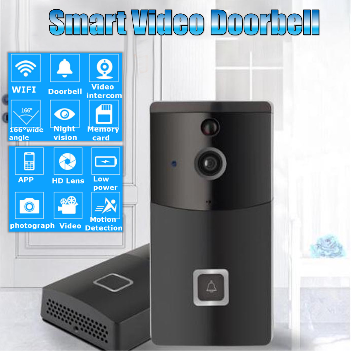 WIFI Doorbell B30 IP65 Waterproof Smart Video Door Chime 720P Wireless Intercom FIR Alarm IR Night Vision IP Camera