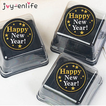 купить 60pcs Happy New Year Paper Stickers New Year 2020 Eve Party Cards Gift Boxes Bag Black Gold Sealing Labels Sticker Decoration по цене 125.7 рублей