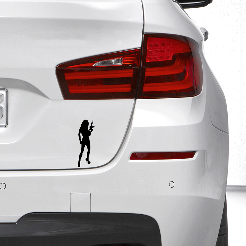 Beautiful <font><b>Sexy</b></font> Woman cartoon <font><b>figure</b></font> <font><b>Car</b></font> Stickers <font><b>car</b></font> window <font><b>car</b></font> body Vinyl sticker Black Silver 18 X 6 cm BSWC01 image