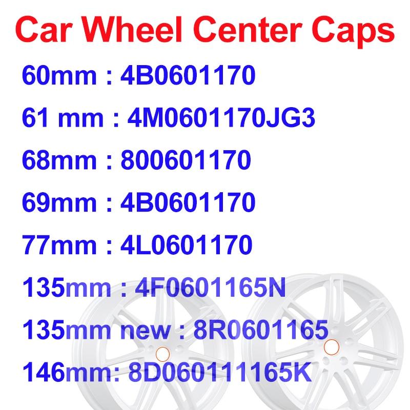 for A1 A2 A3 A4 A5 A6 A7 Gray Black 60mm 61mm 68mm 69mm 77mm 135mm 146mm Wheel Center Caps Emblem Badge Wheel Hub Labe Covers