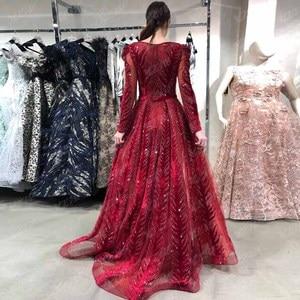 Image 5 - חדש הגעה דובאי יין אדום קטיפה ערב שמלות ארוך שרוול אלגנטי V צוואר יהלומי חרוזים פורמליות ערב שמלת סעודיה