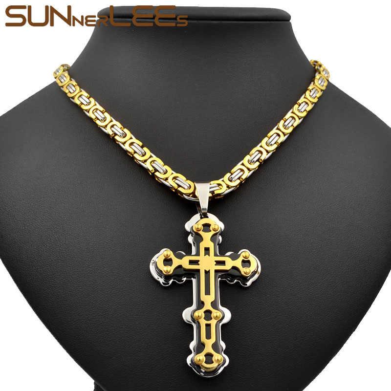 SUNNERLEES 316L In Acciaio Inox Gesù Cristo Croce Pendente Della Collana Bizantino Catena a maglia D'argento In Oro Degli Uomini di Colore Ragazzi Regalo SP234