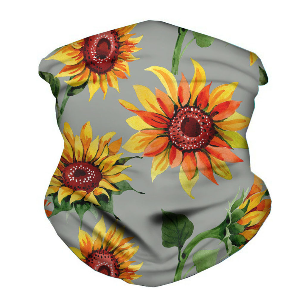 Floral Headwrap Garden Flowers Poppies Sport UV Face Scarf Dust Protection Breathable