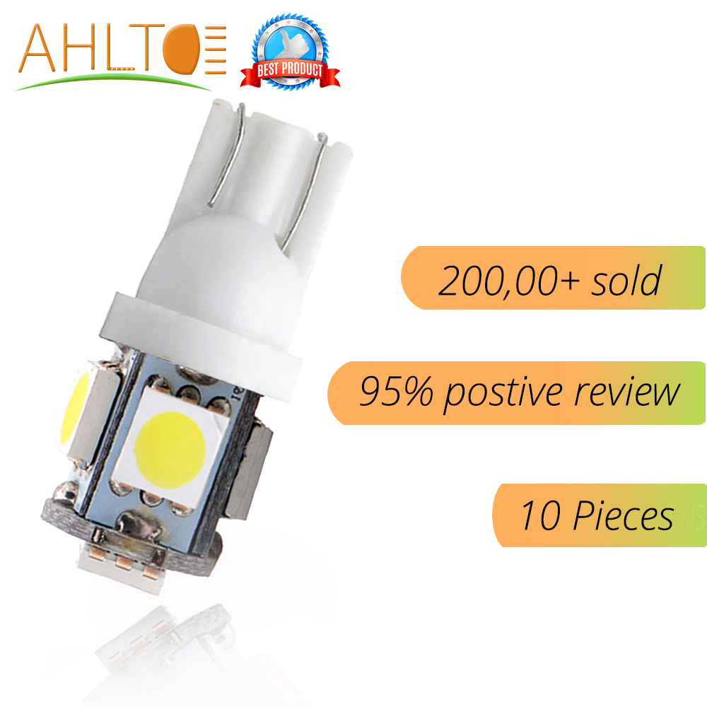 10Pcs Car LED T10 W5W 5050 5SMD White Red Blue Wedge Light 168 194 192 DC 12V License Plate Bulbs Marker Light Reading Dome Lamp