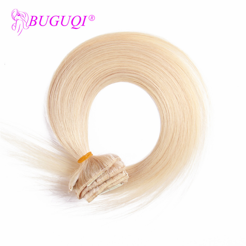 BUGUQI Hair Clip In Human Hair Extensions Brazilian #60 Remy 16- 26 Inch 100g Machine Made Clip Human Hair Extensions