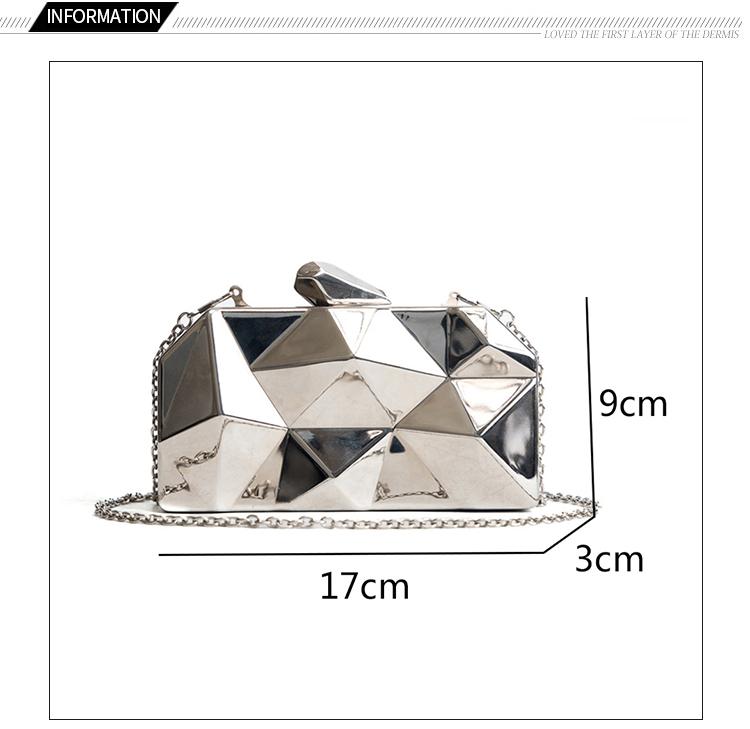 Hexagon Women Handbags Metal High Quality Clutches Fashion Geometric Mini Party Black Evening Purse Silver Bags Gold Box Clutch (1)