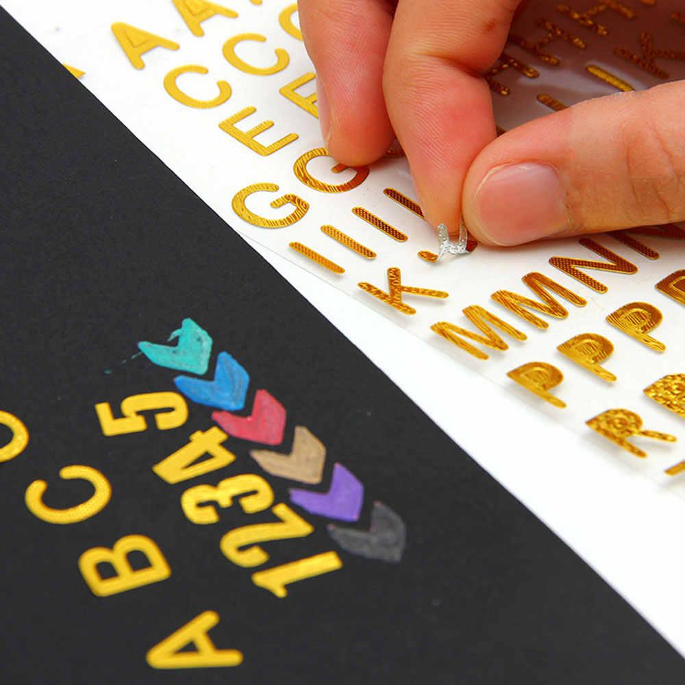 Adesivo decorativo de álbum de diy, adesivo de diário de letras digitais de diy, adesivo decorativo 9.5x17.5cm para artesanato e bronzeamento