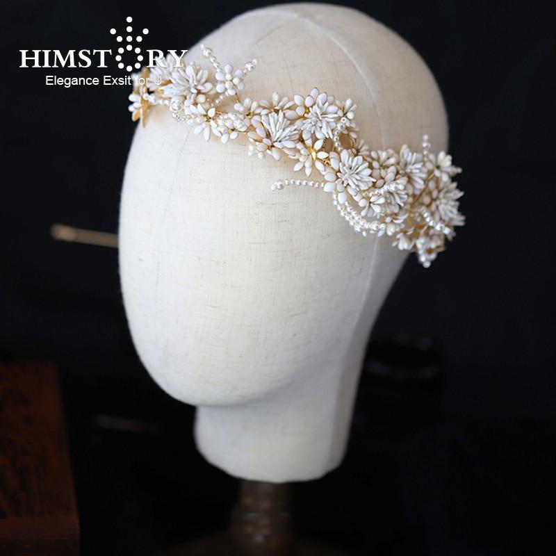Himstory Vintage bandeaux fleur feuilles mariage cheveux accessoires femmes mariée tiare bandeau spectacle fête à la main cheveux bijoux