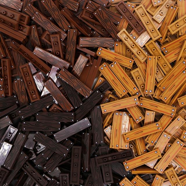 City Accessories Building Blocks 1x4 Flat Tile Floor Board Wall Wood Bricks House Farm Creator parts bulk military building Toys