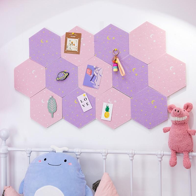7Pcs 3D Hexagon Moon Star Felt Board Letter Message Board Photo Display DIY Art Wall Decoration Office Planner Schedule Board 6