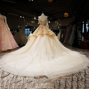 Image 2 - LS65411 1 큰 스커트 신부 가운 민소매 황금 샴페인 컬러 이브닝 드레스와 레이스 tain 중국 온라인 가게에서 직접 구매