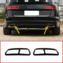 Stainless Steel Car Exhaust Muffler Pipe Cover Trim Tail Pipe Cover For- A6 C7 2016-2018