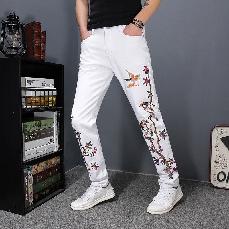 Embroidery Jeans Men 2020 Spring White Floral Bird Embroidery Trousers Korean Style Personality Slim Fit Pencil Denim Long Pants