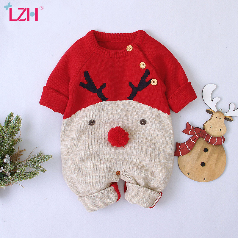 2020 Autumn Winter Newborn Baby Clothes Christmas Sweater Rompers Baby Girls Boys Overalls Infant Costume Kids Toddler Jumpsuit