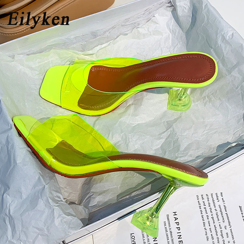 Eilyken Green PVC Jelly Slippers Crystal Open Toe Perspex Sike High Heels Crystal Women Transparent Heel Sandals Slippers Pumps