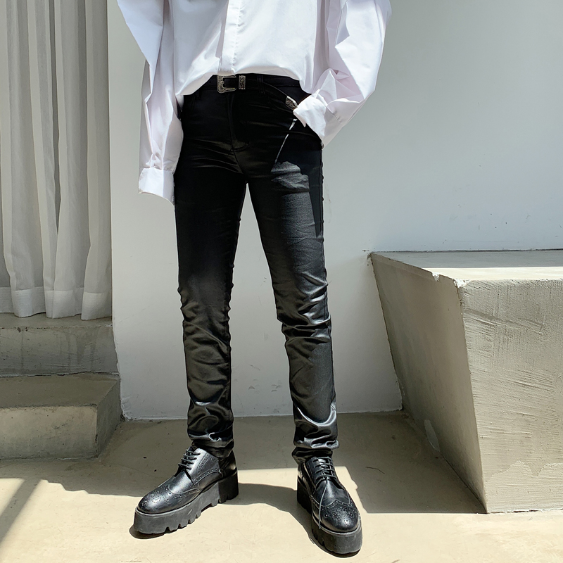 Male Women Streetwear Hip Hop Punk Gothic Pencil Pants Skinny Trousers Stage Clothing Men Fashion Coating Slim Fit Casual Pants