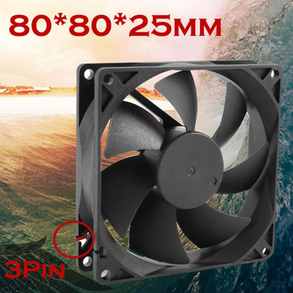 Quiet 8cm/80mm/80x80x25mm 12V Computer/PC/CPU Silent Cooling Case Fan Diy Computer Radiator 3-pin Molex Connector