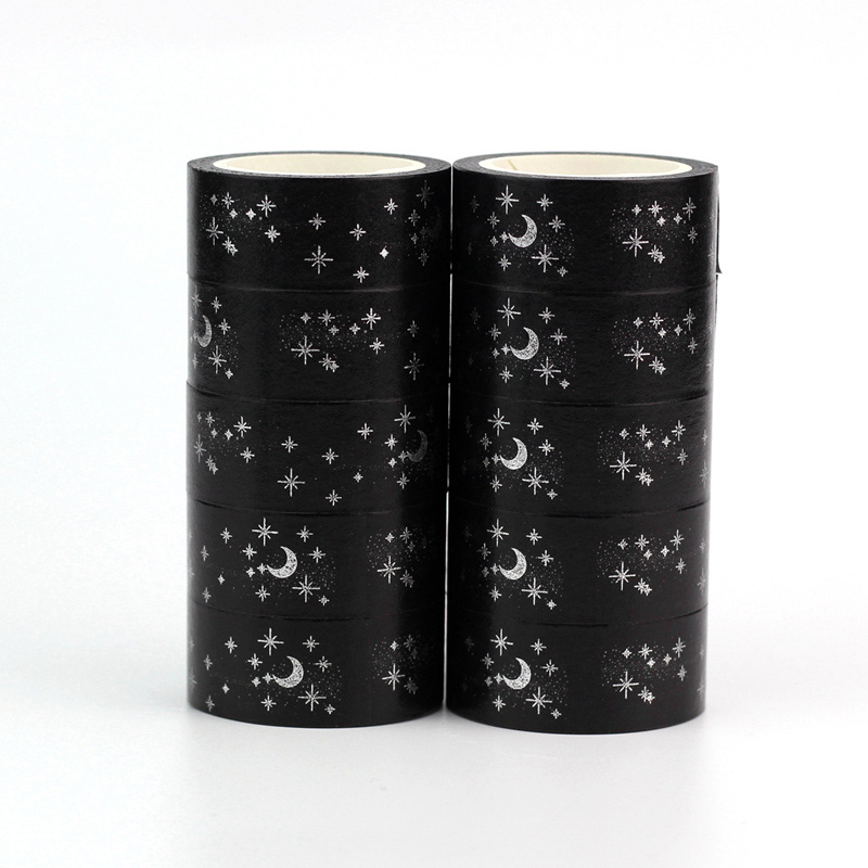 10pcs/lot Cute Silver Moon And Snowflakes Christmas Washi Tapes DIY Decor Scrapbook Planner Adhesive Masking Tapes Stationery