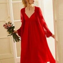 Summer Red Color Women's 2-Pics Robe Sets V-neck Long Sleeve Royal Roupas De Dormir Femininas  Embroidery Lace Sexy Sleepwear