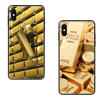 Fine Gold Metallic Print For Samsung Galaxy S20 S10e S10 S9 S8 S7 S6 S5 edge Lite Plus Ultra Vente Black Soft TPU Protective image