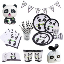 Cartoon Panda Theme Birthday Party Decorations Disposable Tableware Sets Plate Napkin Balloon Baby Shower Favors