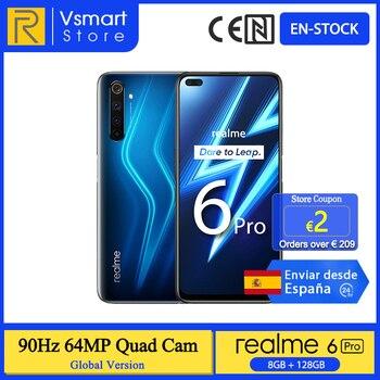Перейти на Алиэкспресс и купить В наличии глобальная версия Realme 6 Pro смартфон 8 ГБ 128 6,6 90 Гц Экран 64MP Quad камеры Snapdragon 720G 4300 мА/ч, 30 Вт Быстрая зарядка