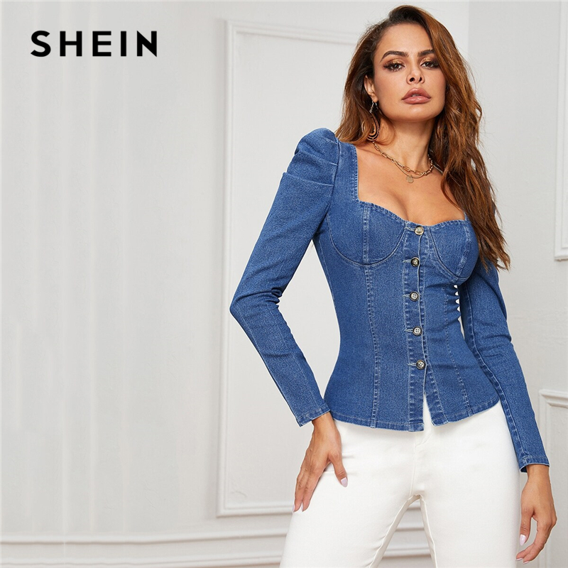 SHEIN Blue Button Up Puff Sleeve Bustier Denim Top Shirt Women Autumn Sweetheart Neck Slim Fitted Sexy Tops And Blouses