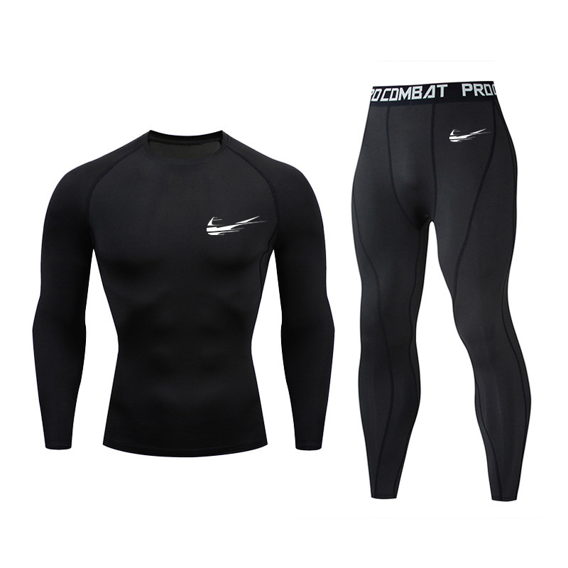 Autumn And Winter Men's Sports Suit Outdoor Fast-drying Air-permeable Thermal Underwear Long-sleeve Close Suit For Running And