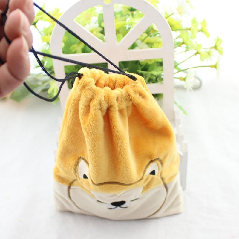 18x15cm Shiba Inu Cute Dog Animals Cartoon Drawstring Storage Bag Mini Soft Plush Girls Coin Key Phone Bags Bunch Pocket 1pcs
