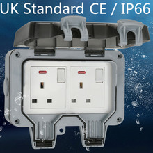 IP66 Weatherproof Waterproof Outdoor Wall Power Socket 16A Double UK Standard Electrical Outlet Grounded AC 110~250V