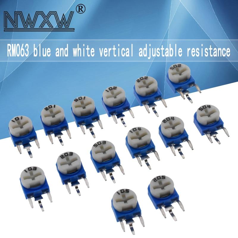 20 rm063 регулируемые резисторы 100R 200 500 1k 2k 5k 10k 20k 50k 100k 200k 500k 1m Ом синий и белый вертикальный потенциометр