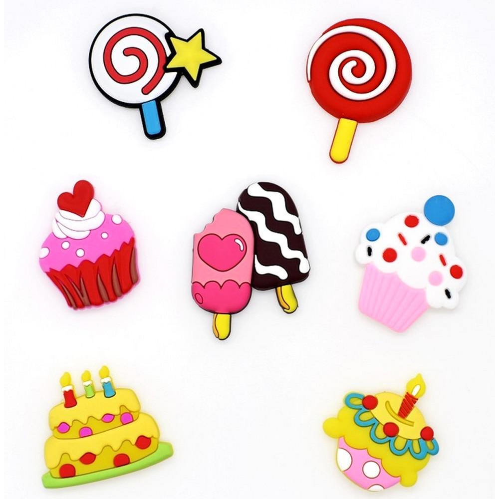 Kids 7pcs Cute Cartoon PVC Dessert Cake Ice Cream Shape DIY Shoes Phone Case Crafts Making Charm Decorations Accessories Kit Toy