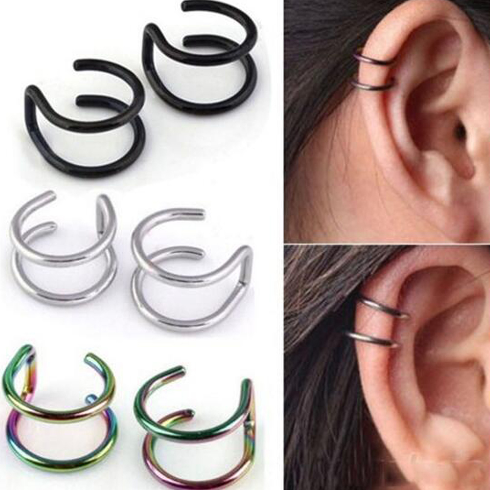1PCS Clip On Wrap Earring Tragus Stainless Steel 2 Rings <font><b>Ear</b></font> Cuff Clip nose ring <font><b>Fake</b></font> Piercing Body Jewelry Dilataciones Falsas image