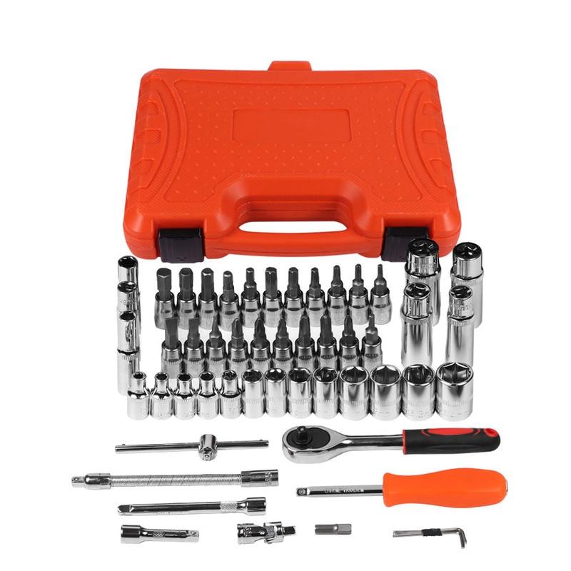 Купить с кэшбэком 53pcs Combination Tool Wrench Set Car Repair Tool Sets Batch Head Ratchet Pawl Socket Spanner Screwdriver Socket Set