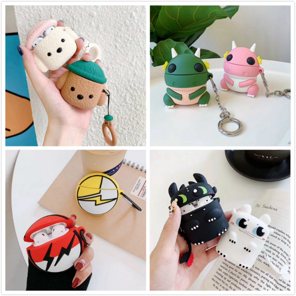 3D Unicorn Earphone Case For Airpods 2 Case Silicon Rice Ball Cover For Airpods 1 Headphone Case  Earbuds Case Cover Ring Strap