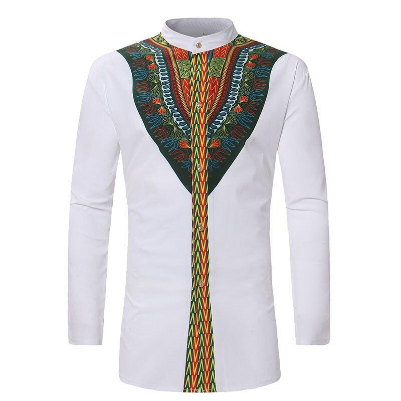 White African Dashiki Print Dress Shirt Men 2020 Autumn New Streetwear African Clothes Men Slim Fit Long Sleeve Africa Clothing