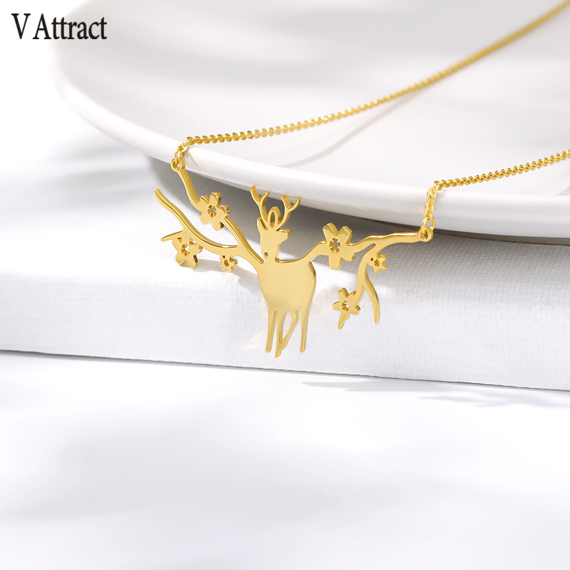 V Attract Christmas Necklaces Elk Deer Antlers Pendant Necklace Gift for Women Gold Clavicle Chain Jewelry Collier Femme image